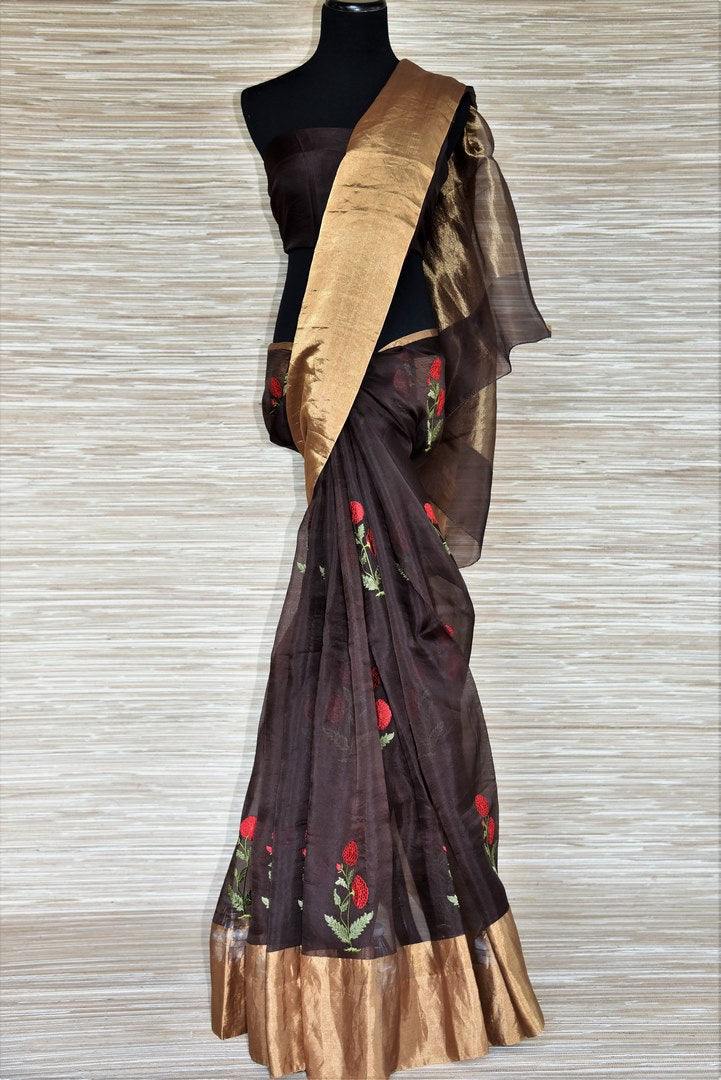 Shop dark brown embroidered organza saree online in USA with zari border. Get your hands on exquisite Indian designer sarees in USA from Pure Elegance Indian clothing store for various special occasions like weddings and parties. Shop online now.-full view