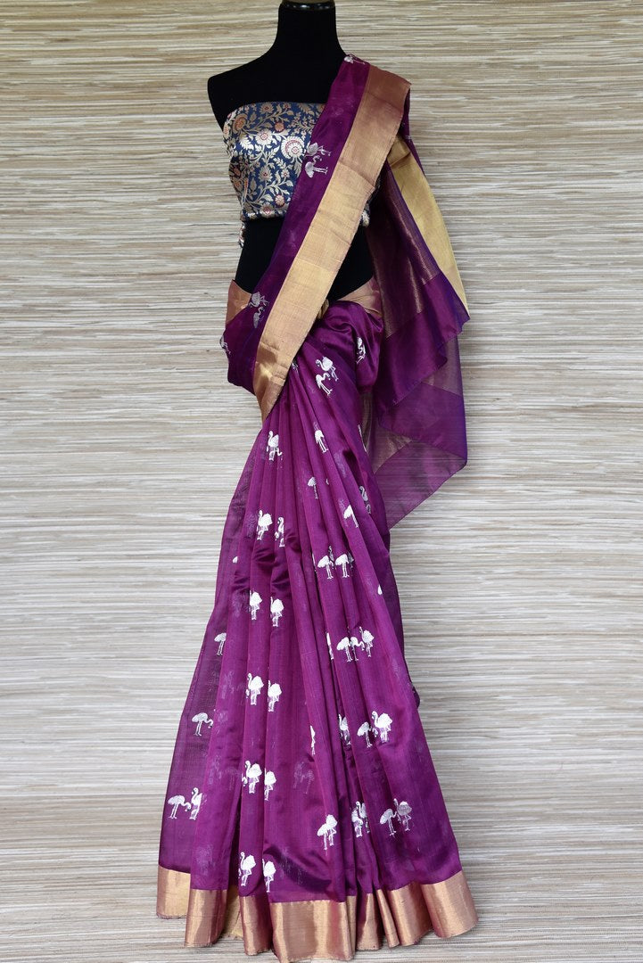 Buy purple chanderi silk saree online in USA with flamingo buta. Shop more such exquisite chanderi sarees in USA from Pure Elegance Indian clothing store for women.-full view