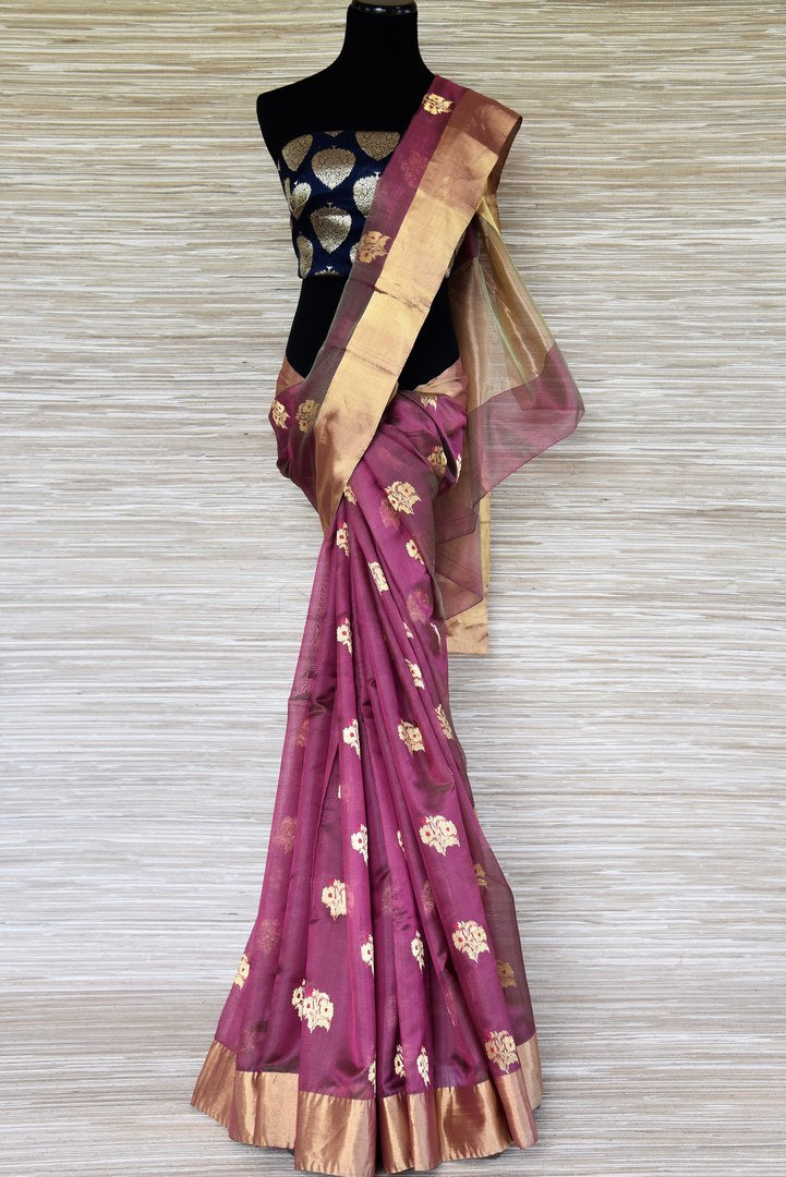 Shop onion pink chanderi silk sari online in USA with floral zari buta. Shop more such exquisite chanderi sarees in USA from Pure Elegance Indian clothing store for women.-full view