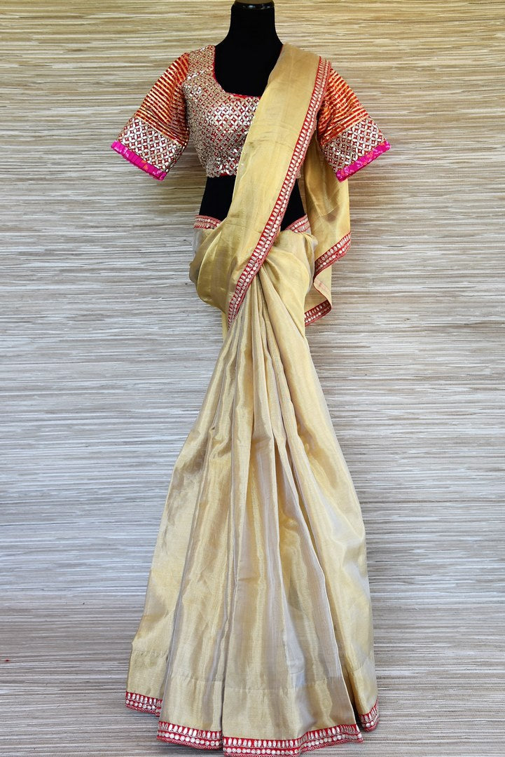 Shop beautiful golden gota patti embroidery tissue saree online in USA with gota patti embroidery saree blouse. Be the talk of every occasions with your elegant saree look in designer sarees, embroidered sarees, handwoven silk sarees from Pure Elegance Indian fashion store in USA.-full view