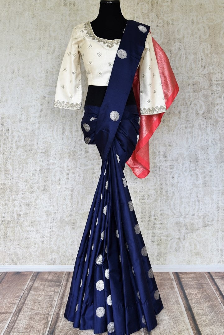Shop dark blue Kanjeevaram saree online in USA with silver zari buta and saree blouse. Select your favorite Indian handloom saris, Kanchipuram silk sarees, wedding sarees from Pure Elegance Indian fashion store in USA for weddings and special occasions.-full view