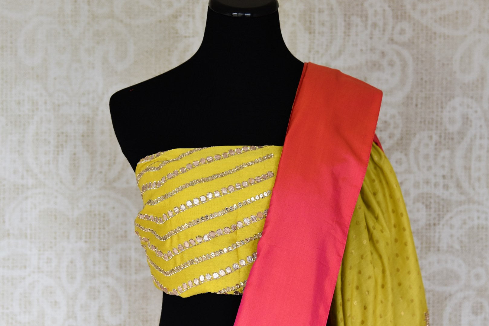 Shop yellow gota work silk sari online in USA with pink border. Keep your wardrobe update with latest Indian saris from Pure Elegance Indian fashion store in USA. Shop beautiful Indian designer sarees, pure silk sarees, Kanchipuram sarees for Indian women in USA from our online store.-blouse pallu
