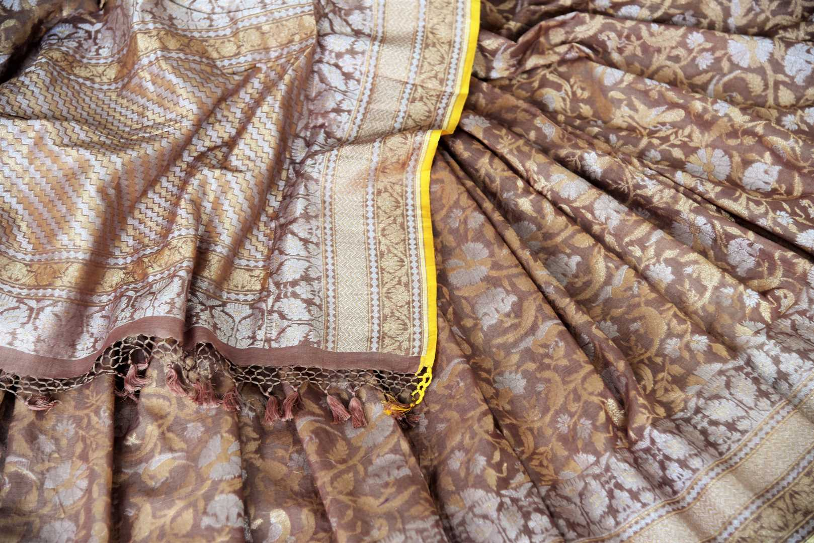 Beautiful brown Jamdani Banarasi saree for online shopping in USA. Get floored by a vibrant collection of Indian designer sarees at Pure Elegance Indian fashion store in USA. Choose from a beautiful range of Indian handloom saris, silk saris, Banarasi sarees for weddings and special occasions.-details
