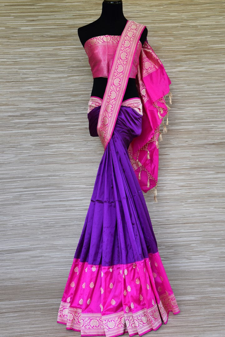 Buy purple Banarasi silk saree online in USA with pink border and zari buta. Be the highlight of weddings and special occasions with your stunning Indian look in exquisite Benarasi silk sarees from Pure Elegance Indian fashion store in USA. Shop online now.-full view
