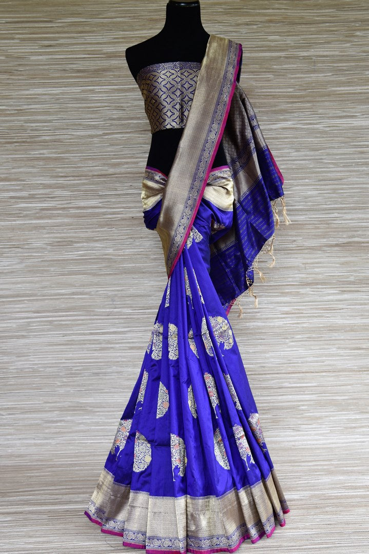 Shop indigo blue Banarasi silk saree online in USA with silver zari tree buta. Enhance your traditional style with a splendid range of Banarasi sarees from Pure Elegance Indian fashion store in USA.-full view