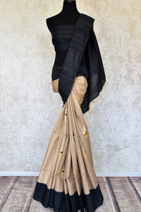 Buy beige tussar Benarasi sari online in USA with black border zari buta. Keep your wardrobe update with latest Indian handwoven saris from Pure Elegance Indian fashion store in USA. Shop beautiful Benarasi sarees, pure silk sarees, Kanchipuram sarees for Indian women in USA from our online store.-full view