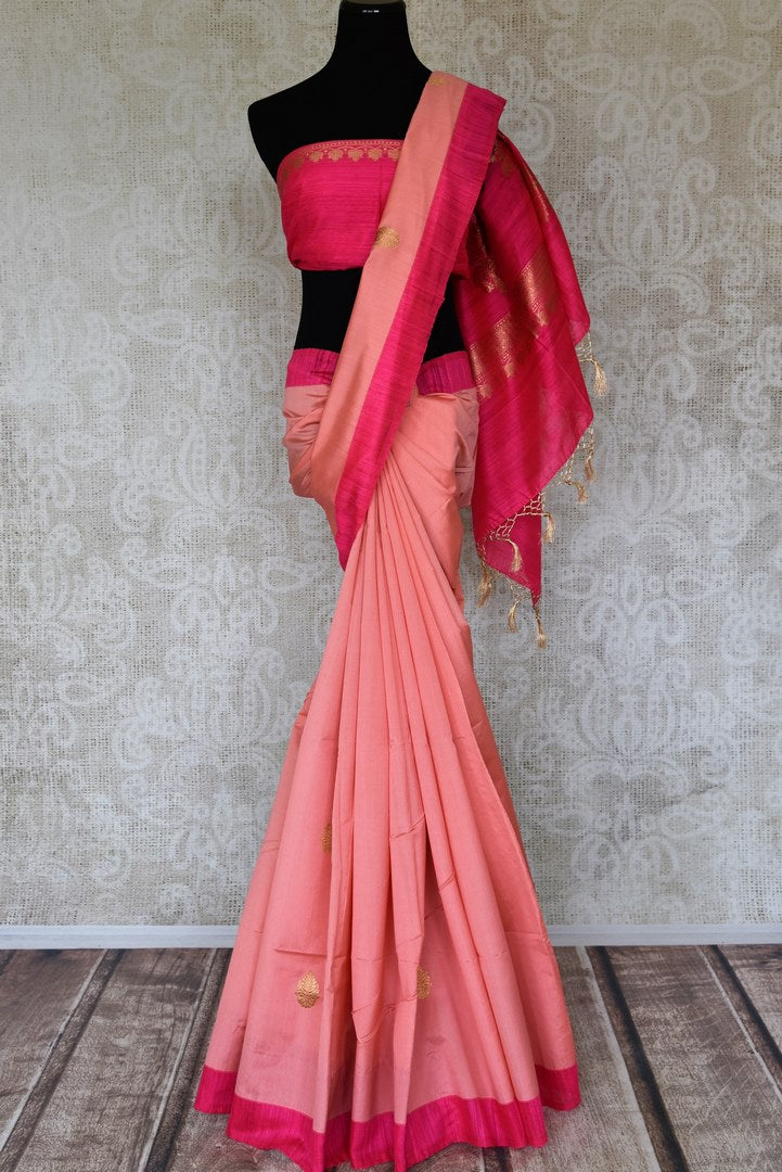 Shop pink tussar Benarasi sari online in USA with golden zari buta. Keep your wardrobe update with latest Indian handwoven saris from Pure Elegance Indian fashion store in USA. Shop beautiful Benarasi saris, pure silk sarees, Kanchipuram sarees for Indian women in USA from our online store.-full view