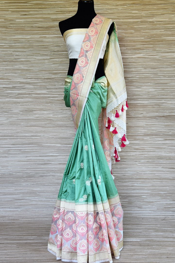 Shop lovely green zari buta Banarasi saree online in USA with organza border. Be a stunner on special occasions in exquisite Banarasi silk sarees, handwoven saris from Pure Elegance Indian fashion store in USA for Indian women.-full view