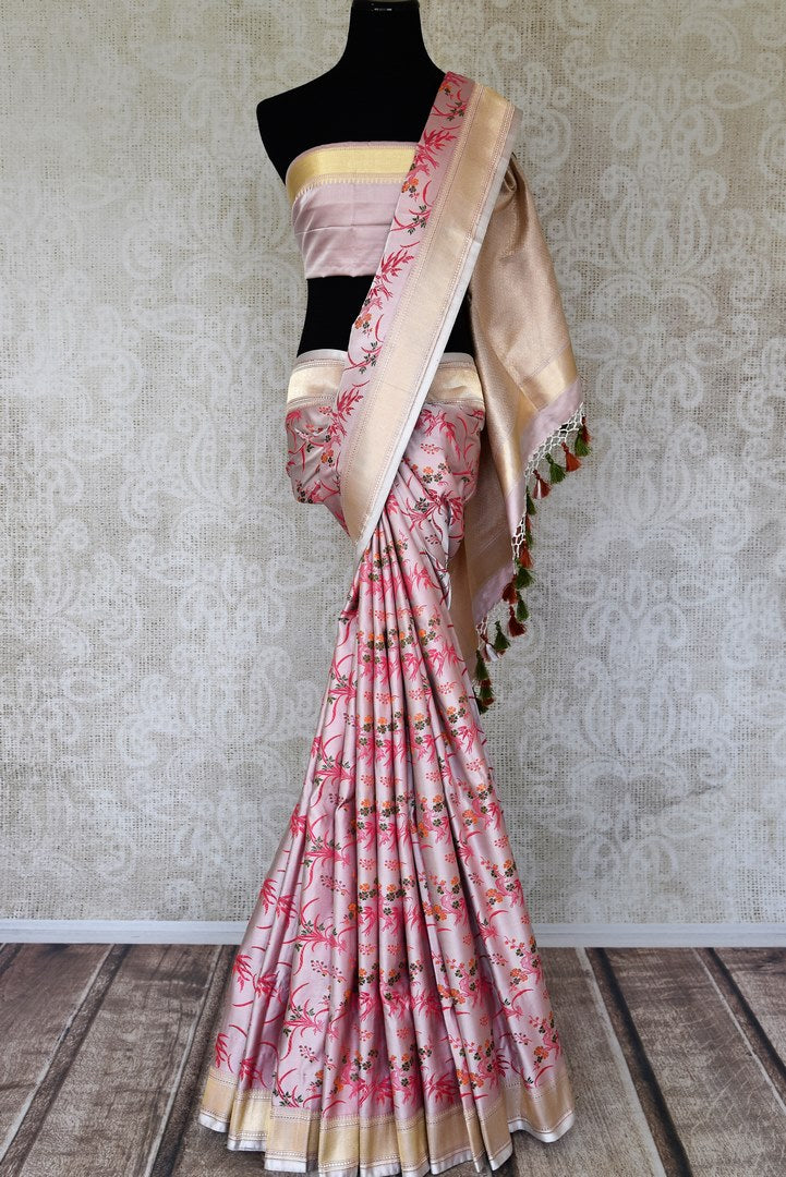 Buy soft pink Benarasi silk saree online in USA with minakari floral work. Raise your ethnic style quotient at weddings and special occasions with exquisite Indian sarees from Pure Elegance Indian clothing store in USA. Pick from a tasteful collection of designer sarees, Banarasi saris, silk sarees. Shop now.-full view