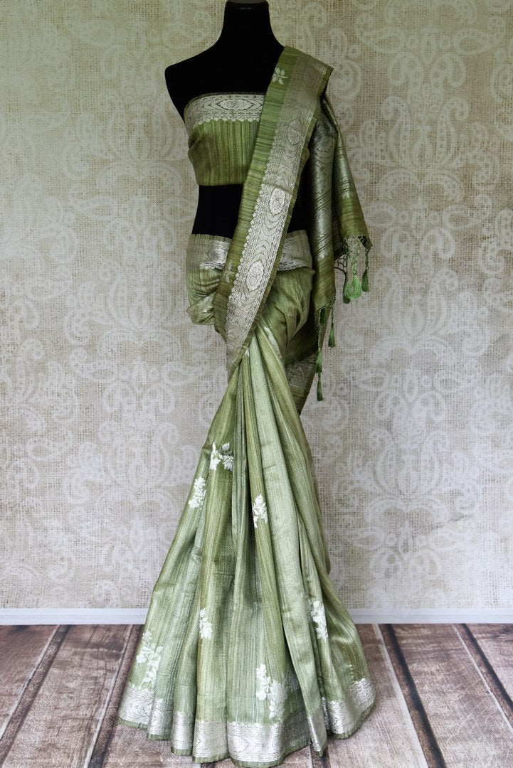 Buy pista green tussar Banarasi saree online in USA with floral zari buta and zari border. Be an epitome of elegance in exquisite Banarasi sarees from Pure Elegance Indian clothing store in USA.-full view