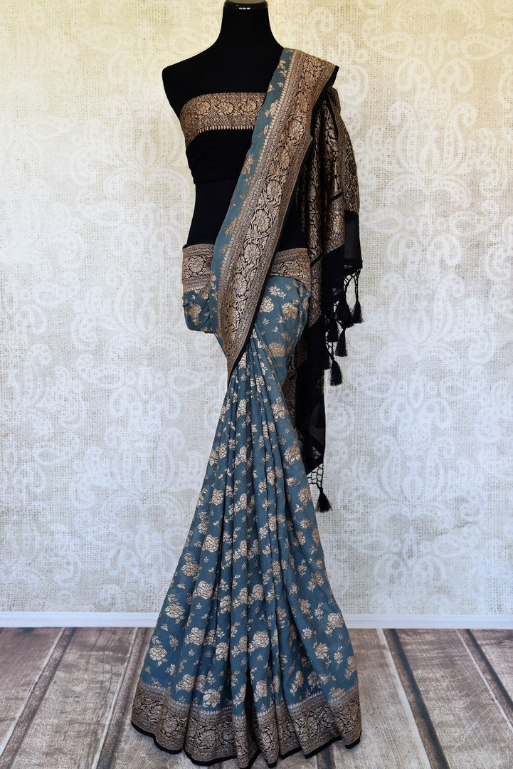 Buy steel blue georgette Banarasi saree online in USA with zari work. Feel traditional on special occasions in beautiful Indian designer saris from Pure Elegance Indian fashion store in USA. Choose from a splendid variety of Banarasi sarees, pure handwoven saris. Buy online.-full view