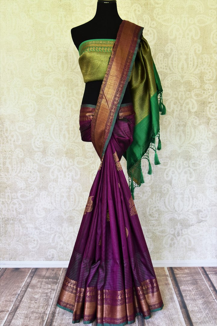Shop purple tussar Banarasi saree online in USA with green zari pallu. Take your ethnic style  to next level with exquisite Banarasi sarees from Pure Elegance Indian fashion store in USA. Shop online.-full view
