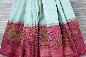 Shop mint green muga Banarasi sari online in USA with pink antique zari border. Be a vision in the beautifu Banarasi sarees from Pure Elegance Indian clothing store in USA. Shop online now.-pleats