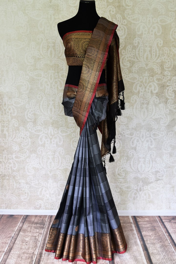 Shop grey check tussar Banarasi saree online in USA with zari border and pallu. Take your ethnic style  to next level with exquisite Banarasi sarees from Pure Elegance Indian fashion store in USA. Shop online.-full view