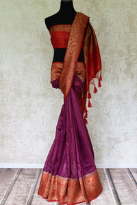 Buy purple tussar Benarasi saree online in USA with red antique zari border. Be an epitome of elegance in exquisite Banarasi saris from Pure Elegance Indian clothing store in USA.-full view