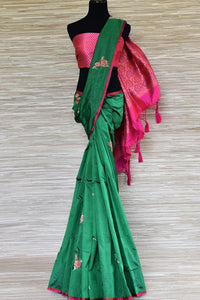 Shop green Banarasi silk sari online in USA with minakari zari floral buta. Be a vision in the beautiful Banarasi silk saris from Pure Elegance Indian clothing store in USA. Shop online now.-full view