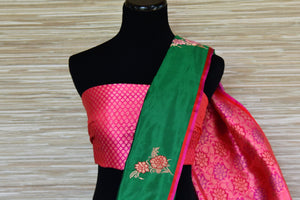 Shop green Banarasi silk sari online in USA with minakari zari floral buta. Be a vision in the beautiful Banarasi silk saris from Pure Elegance Indian clothing store in USA. Shop online now.-blouse pallu