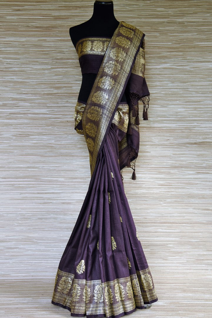 Buy purple tussar Banarasi sari online in USA with zari buta and border. Shop such stunning Banarasi sarees for special occasions from Pure Elegance Indian fashion store in USA.-full view