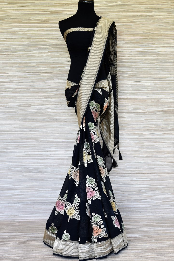 Buy midnight blue Banarasi georgette saree online in USA with flower zari buta and zari border. Make your ethnic wardrobe colorful and rich with a splendid collection of Banarasi saris from Pure Elegance Indian clothing store in USA. Shop online.-full view