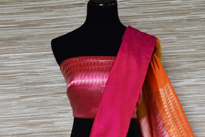 Buy mustard tissue silk Banarasi saree online in USA with pink border. Be a stunner on special occasions in exquisite Banarasi silk sarees, handwoven saris from Pure Elegance Indian fashion store in USA for Indian women.-blouse pallu