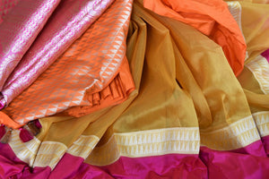 Buy mustard tissue silk Banarasi saree online in USA with pink border. Be a stunner on special occasions in exquisite Banarasi silk sarees, handwoven saris from Pure Elegance Indian fashion store in USA for Indian women.-details