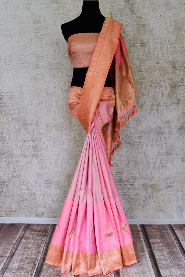 Buy pink Banarasi silk saree online in USA with paisley zari buta and peach zari border. Choose your favorite Indian sarees, Banarasi sarees, silk saris from an exquisite collection available at Pure Elegance Indian clothing store in USA.-full view
