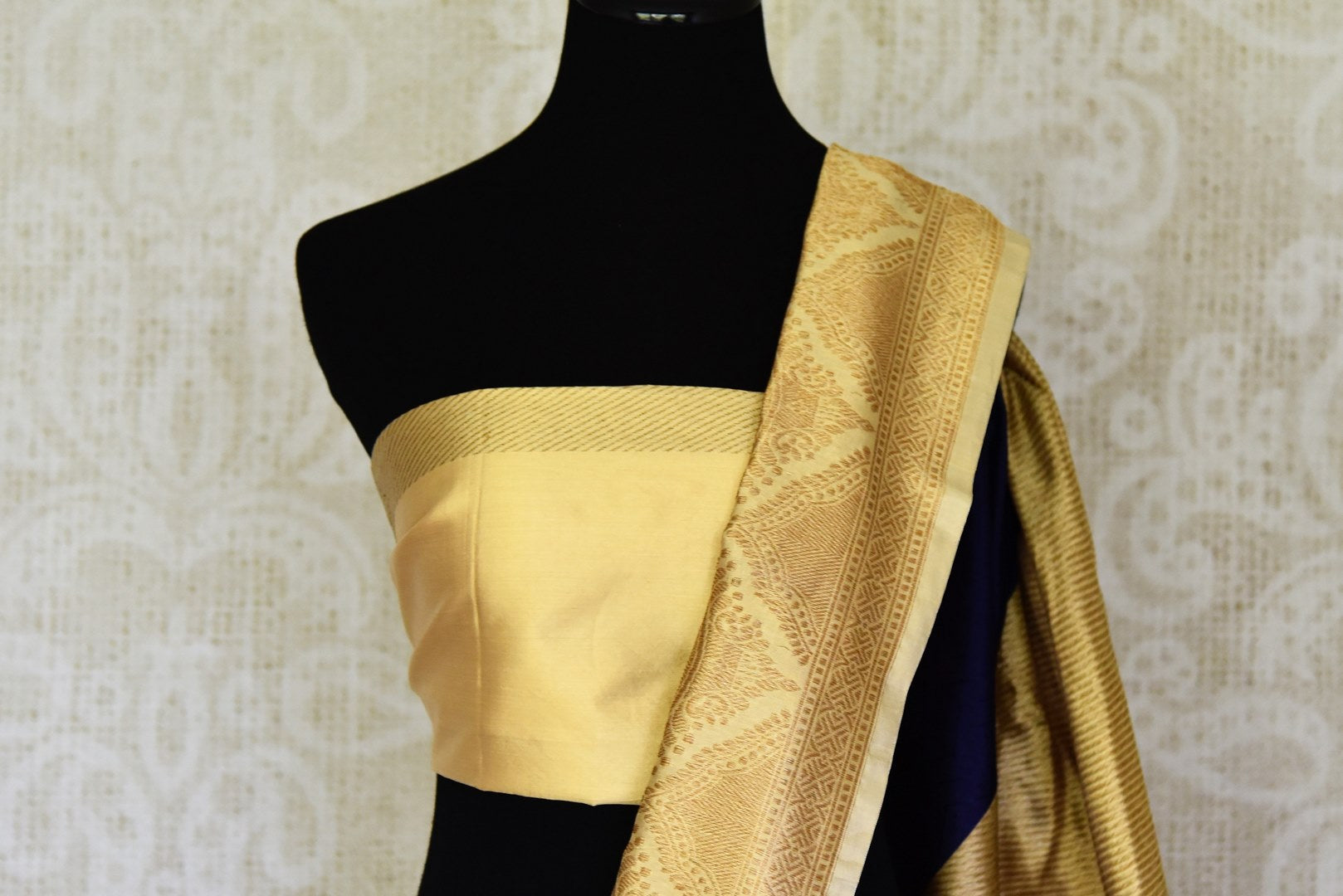 Shop navy blue Banarasi silk sari online in USA with golden zari border. Shine bright on weddings and special occasions with beautiful Indian sarees, Banarasi silk saris, pure silk sarees from Pure Elegance Indian fashion store in USA.-blouse pallu