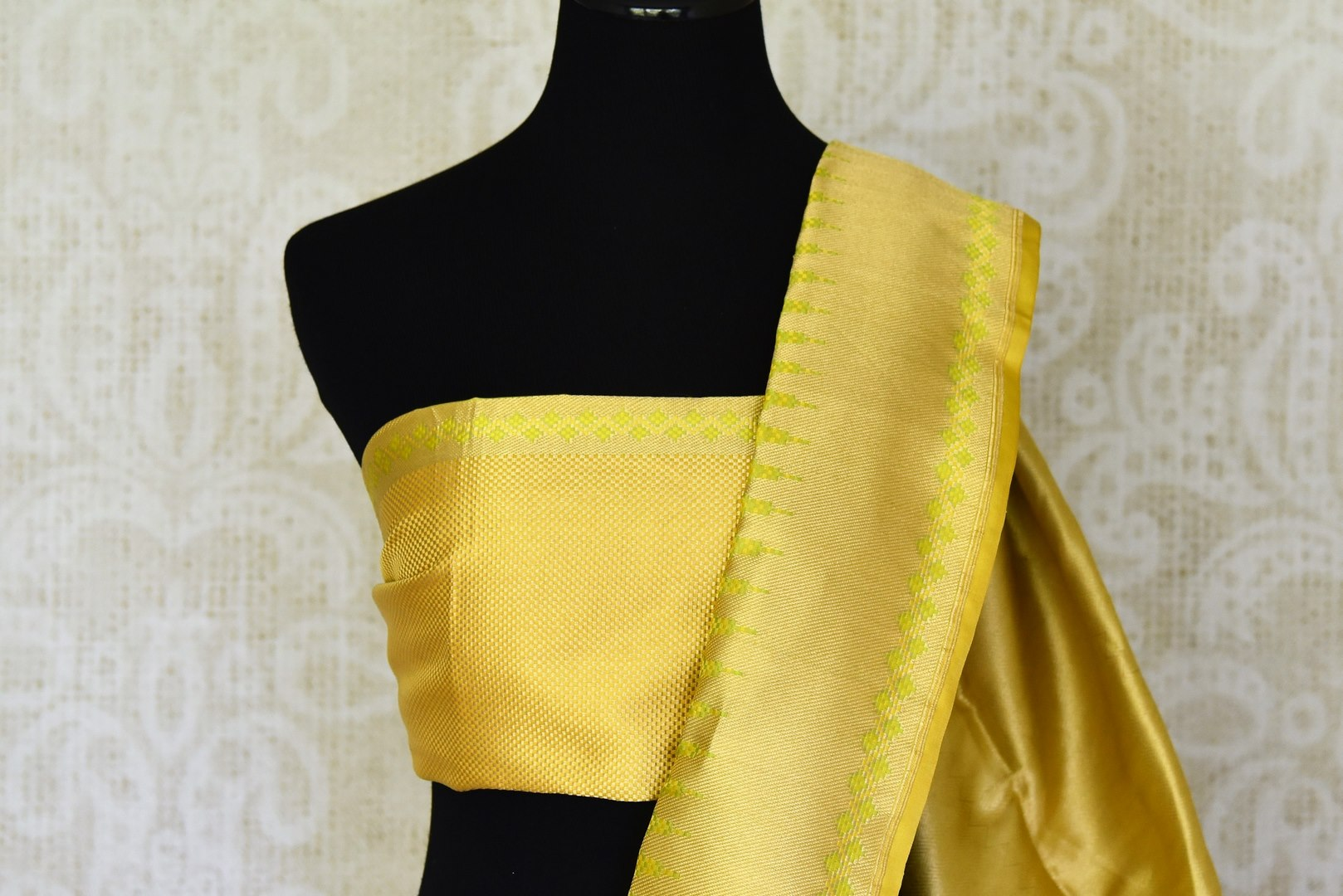 Shop yellow Benarasi silk saree online in USA with golden zari border. Shine bright on weddings and special occasions with beautiful Indian sarees, Banarasi silk saris, pure silk sarees from Pure Elegance Indian fashion store in USA.-blouse pallu