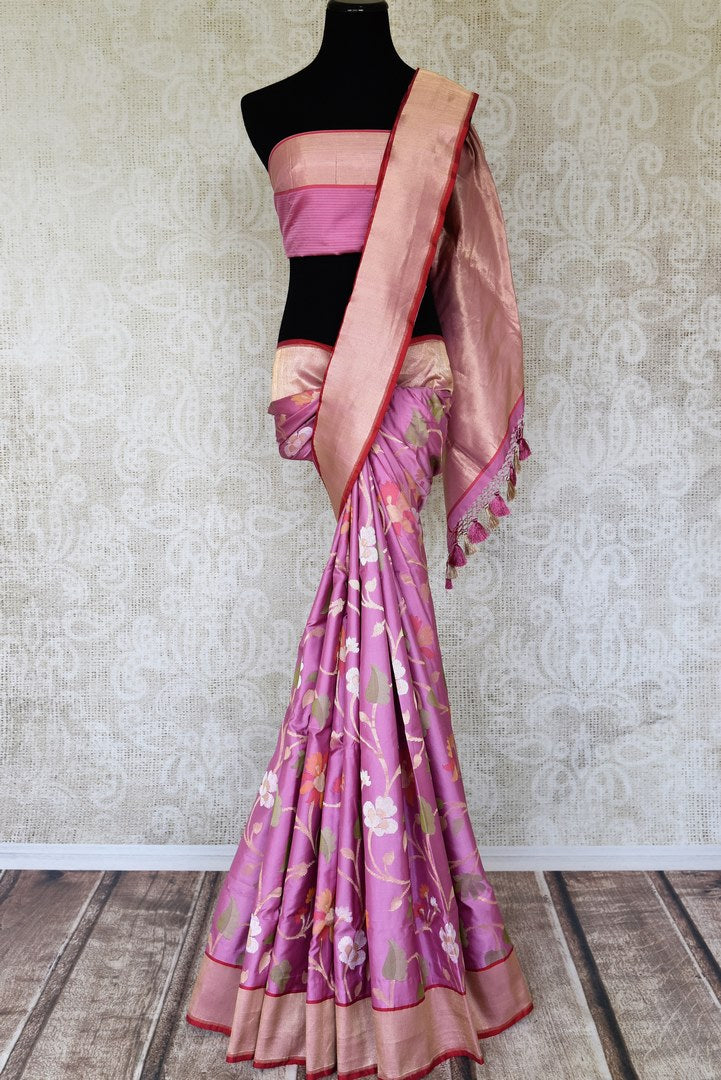 Buy onion pink Banarasi silk saree online in USA with minakari zari floral work. Relive tradition in Indian saris from Pure Elegance Indian clothing store in USA. Enhance your ethnic look with Banarasi sarees, Kanchipuram sarees, handloom sarees available online.-full view
