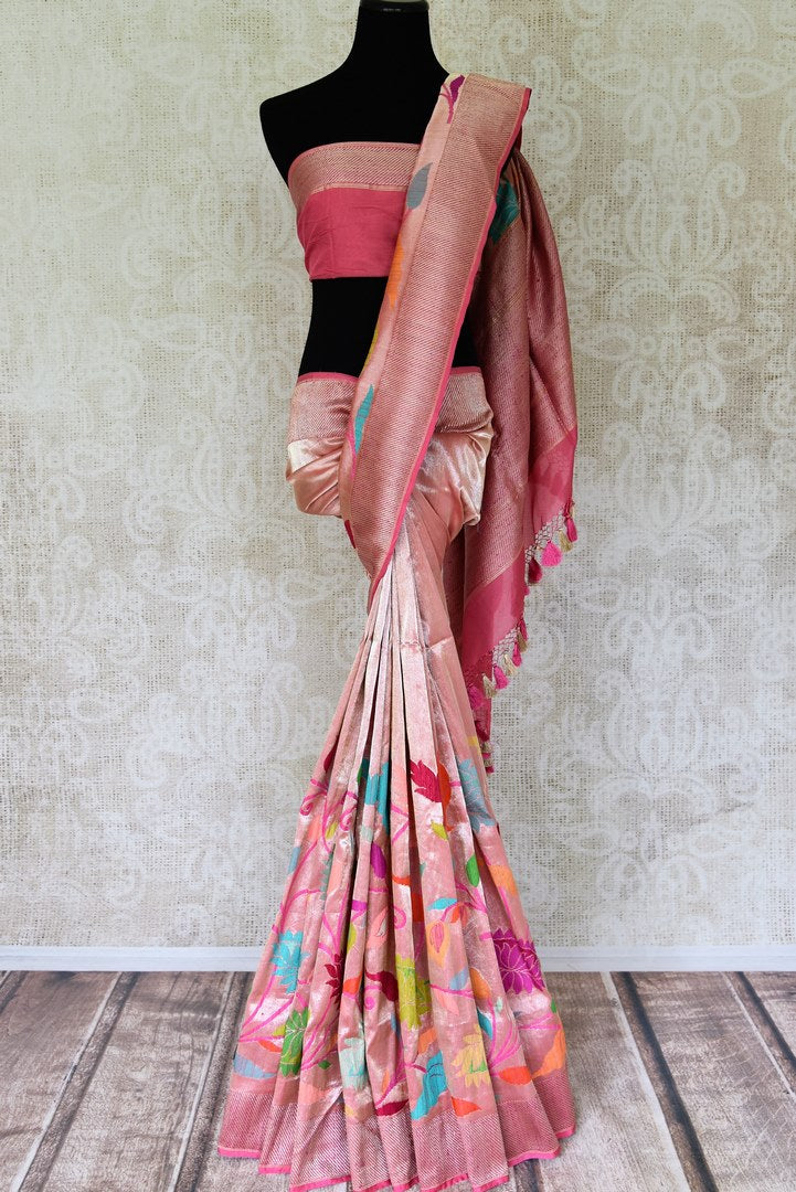Buy pink Banarasi silk saree online in USA with zari work and floral minakari border. Take your ethnic style  to next level with exquisite handwoven silk saris from Pure Elegance Indian fashion store in USA. Shop online.-full view