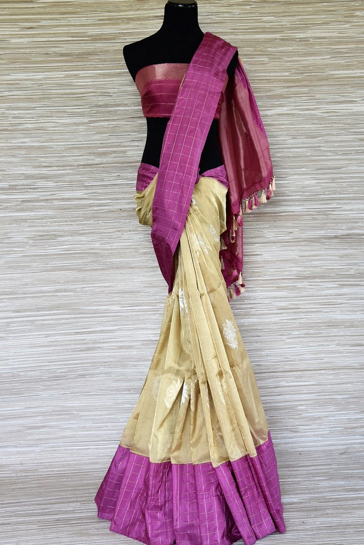 Buy beautiful golden tissue Banarasi saree online in USA with purple zari check border. Be a stunner on special occasions in exquisite Banarasi silk sarees, handwoven saris from Pure Elegance Indian fashion store in USA for Indian women.-full view