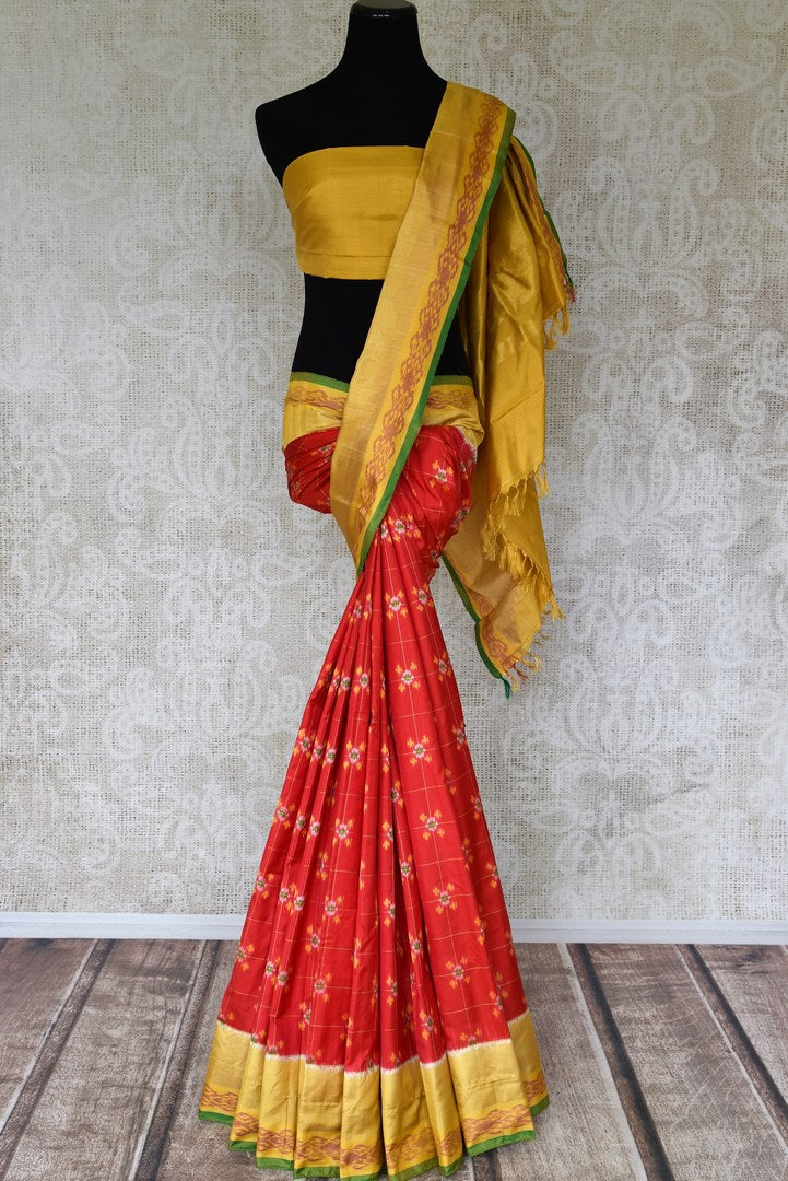 Shop red ikkat silk saree online in USA with yellow zari border. Relive tradition in Indian Banarasi sarees from Pure Elegance Indian clothing store in USA. Enhance your ethnic look with pure silk sarees, Kanchipuram sarees, handloom sarees available online.-full view
