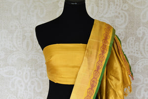 Shop red ikkat silk saree online in USA with yellow zari border. Relive tradition in Indian Banarasi sarees from Pure Elegance Indian clothing store in USA. Enhance your ethnic look with pure silk sarees, Kanchipuram sarees, handloom sarees available online.-blouse pallu