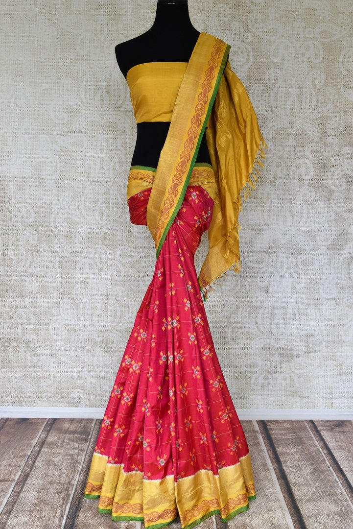 Buy pink ikkat silk sari online in USA with yellow zari border. Relive tradition in Indian Banarasi sarees from Pure Elegance Indian clothing store in USA. Enhance your ethnic look with pure silk sarees, Kanchipuram sarees, handloom sarees available online.-full view
