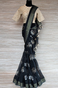 Shop black linen saree online in USA with zari border and bird nest motifs. Make your ethnic style even more stylish with an exclusive range on Indian handloom sarees from Pure Elegance Indian fashion store in USA. -full view
