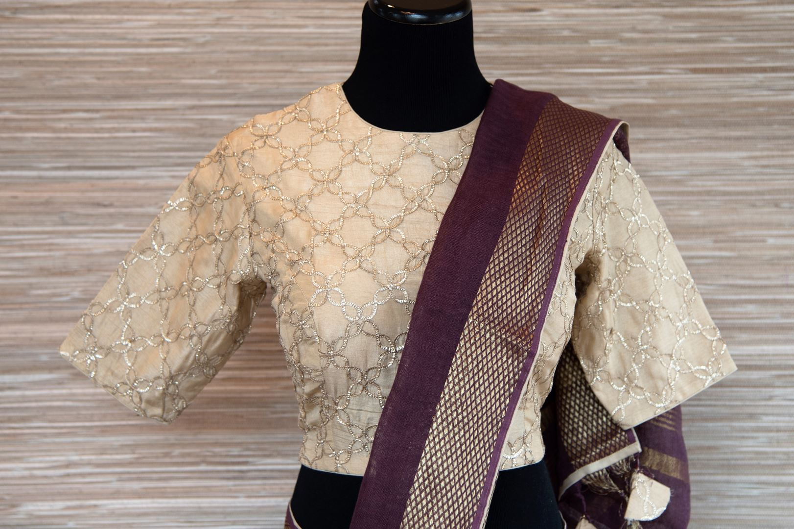 Buy purple linen saree online in USA with zari border and bird nest motifs. Make your ethnic style even more stylish with an exclusive range on Indian handloom sarees from Pure Elegance Indian fashion store in USA. -blouse pallu