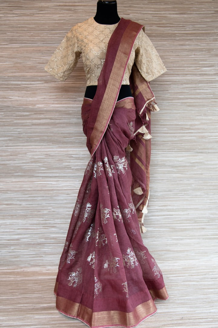 Buy rosewood pink linen sari online in USA with zari border and bird nest motifs. Make your ethnic style even more stylish with an exclusive range on Indian handloom sarees from Pure Elegance Indian fashion store in USA. -full view