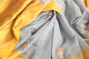 Buy grey embroidered linen saree online in USA with yellow border. Elevate your ethnic style with a tasteful collection of Indian handwoven sarees from Pure Elegance Indian clothing store in USA.-details