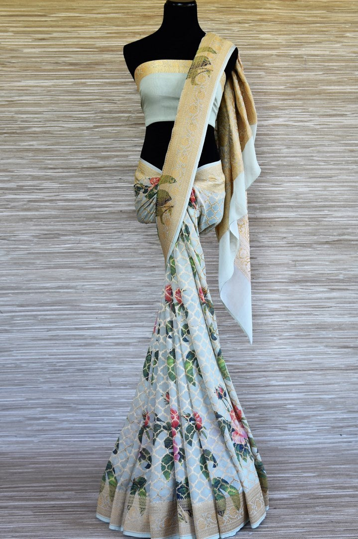 Shop powder blue printed georgette Benarasi saree online in USA with zari jaal. Shop such finely handcrafted Indian sarees from Pure Elegance Indian fashion store in USA for weddings and special occasions.-full view