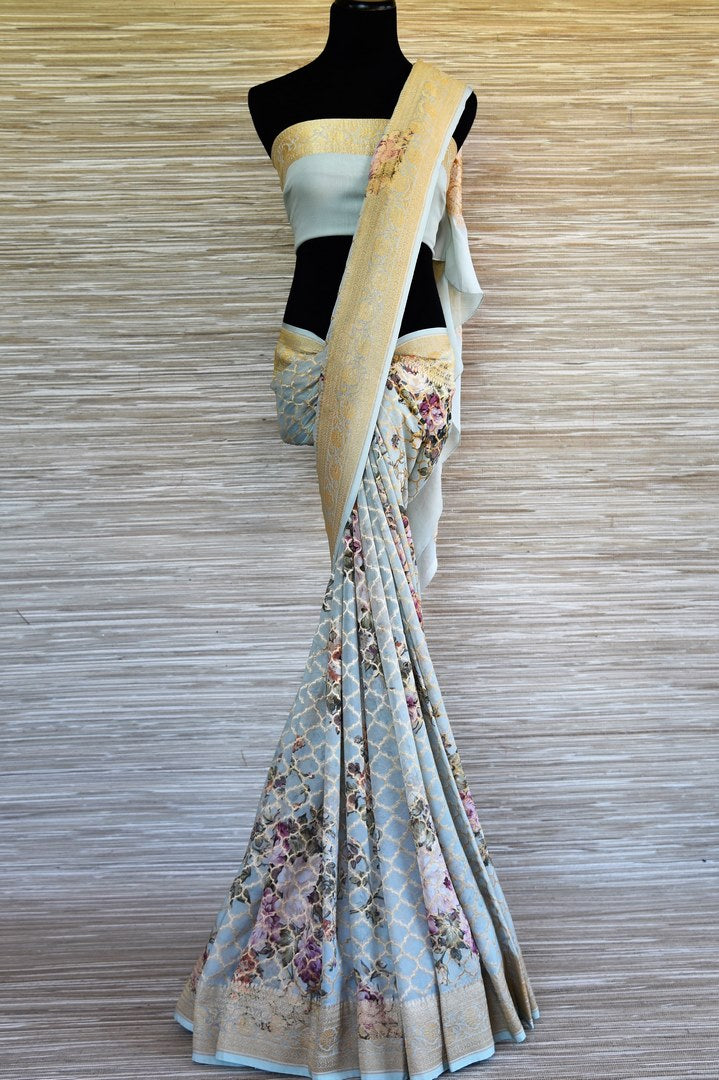 Shop powder blue floral print georgette Benarasi saree online in USA with zari jaal. Shop such finely handcrafted Indian saris from Pure Elegance Indian fashion store in USA for weddings and special occasions.-full view