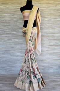 Shop gorgeous powder pink floral print georgette Benarasi saree online in USA with zari jaal. Shop such finely handcrafted Indian saris from Pure Elegance Indian fashion store in USA for weddings and special occasions.-full view