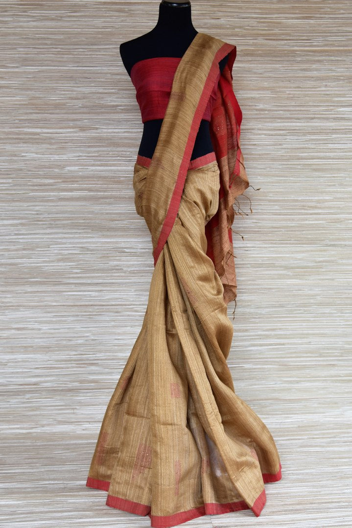 Buy elegant brown matka silk saree online in USA with red border. Select your favorite Indian handloom sarees, pure silk sarees, wedding sarees from Pure Elegance Indian fashion store in USA for weddings and special occasions.-full view