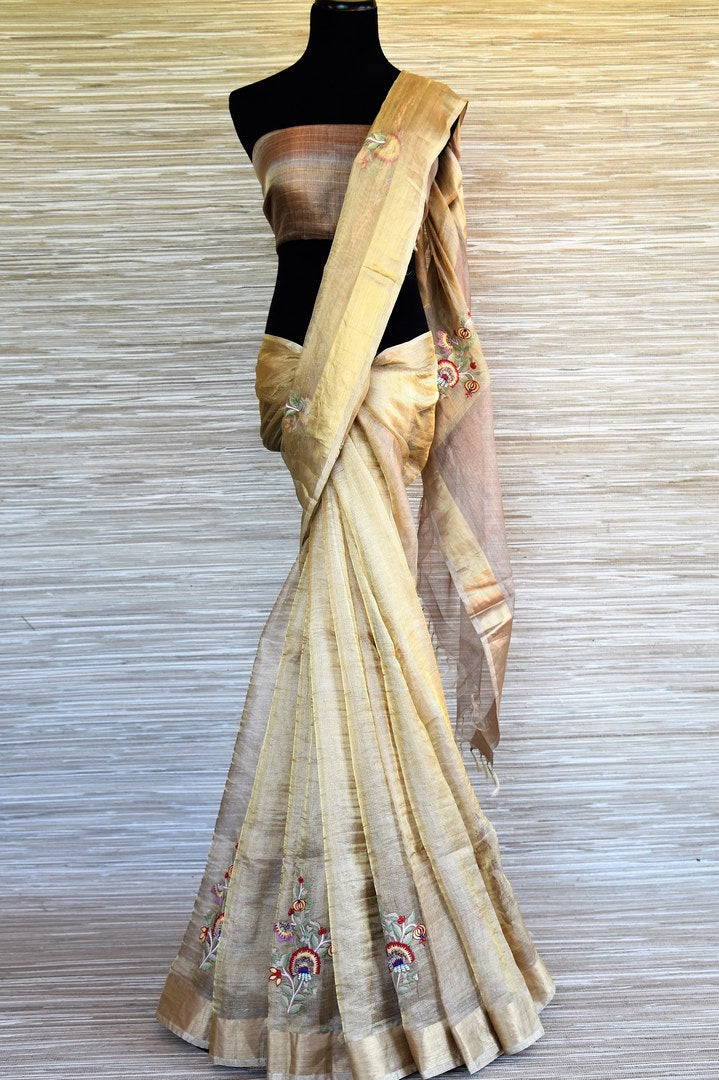 Shop beautiful golden Kota silk saree online in USA with embroidery. Shop such finely handcrafted Indian saris from Pure Elegance Indian fashion store in USA for weddings and special occasions.-full view