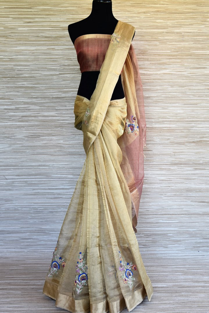 Buy golden Kota silk saree online in USA with embroidered motifs. Shop such finely handcrafted Indian saris from Pure Elegance Indian fashion store in USA for weddings and special occasions.-full view