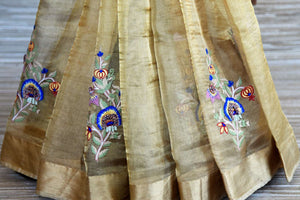 Buy golden Kota silk saree online in USA with embroidered motifs. Shop such finely handcrafted Indian saris from Pure Elegance Indian fashion store in USA for weddings and special occasions.-pleats
