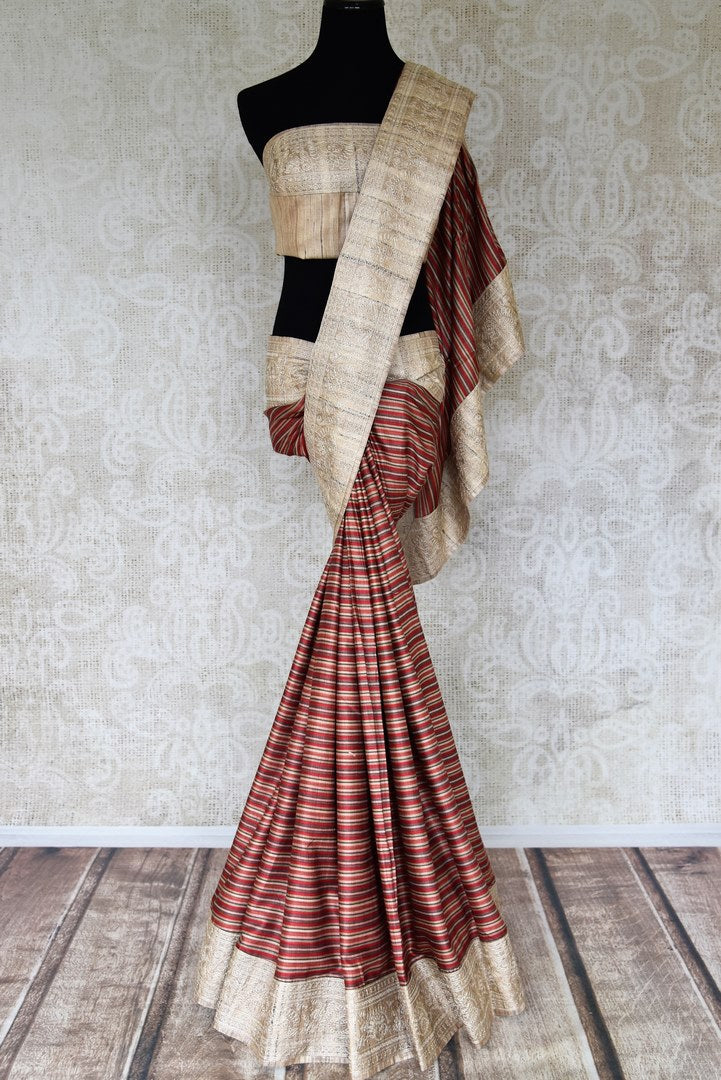 Buy red striped Pashmina sari online in USA with embroidered border. Select your favorite Indian handloom saris, pure silk sarees, wedding sarees from Pure Elegance Indian fashion store in USA for weddings and special occasions.-full view