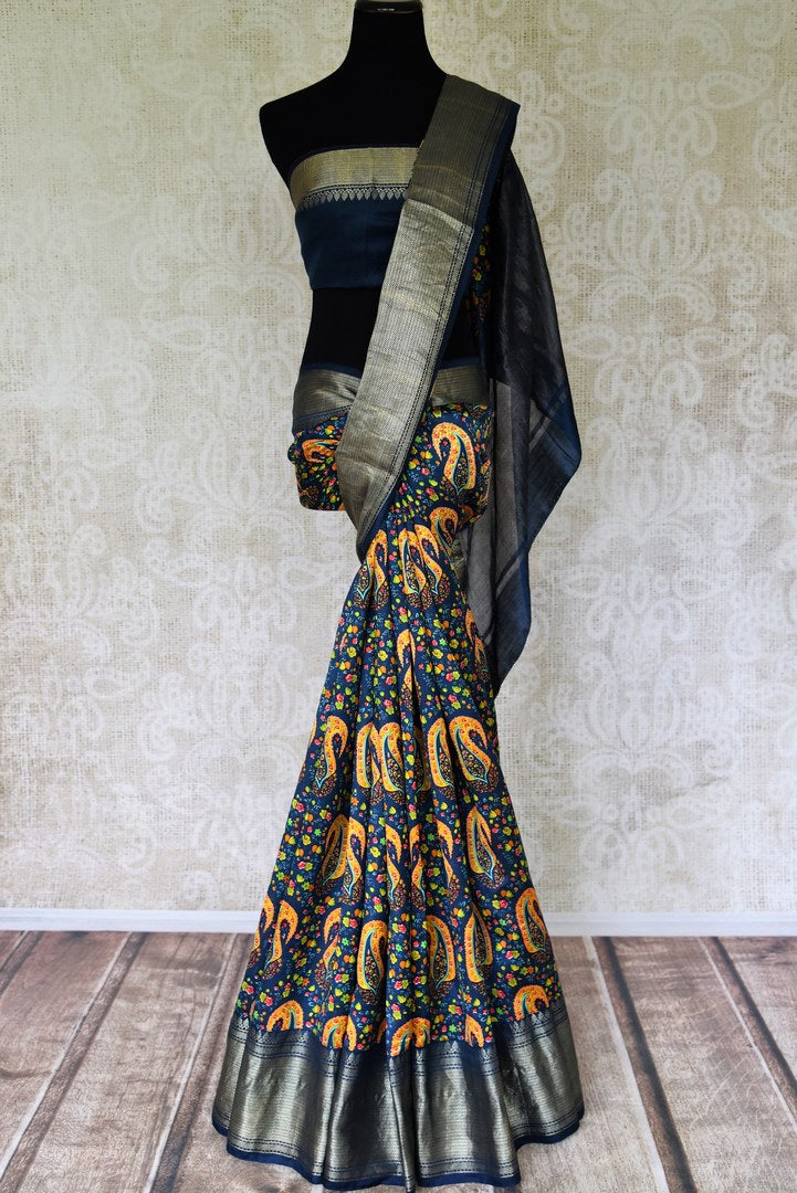 Shop beautiful dark blue printed Banglore silk saree online in USA with zari border. Shop such finely handcrafted Indian sarees from Pure Elegance Indian fashion store in USA for weddings and special occasions.-full view