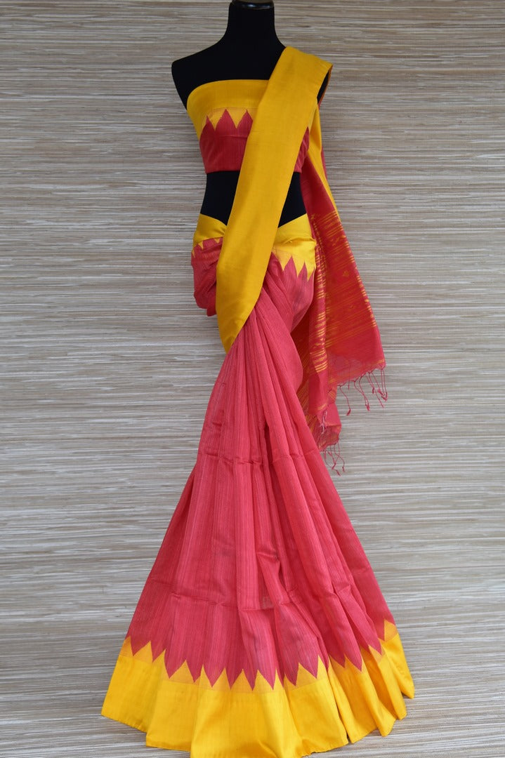 Shop pink matka silk saree online in USA with yellow border. Select your favorite Indian handloom sarees, pure silk sarees, wedding sarees from Pure Elegance Indian fashion store in USA for weddings and special occasions.-full view