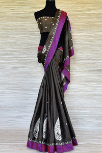 Buy dark grey applique work tussar saree online in USA with purple border. Be the talk of every occasions with your elegant saree look in designer sarees, embroidered sarees, handwoven silk sarees from Pure Elegance Indian fashion store in USA.-full view