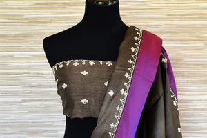 Buy dark grey applique work tussar saree online in USA with purple border. Be the talk of every occasions with your elegant saree look in designer sarees, embroidered sarees, handwoven silk sarees from Pure Elegance Indian fashion store in USA.-blouse pallu